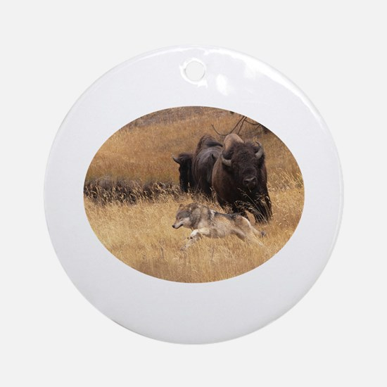 wolf and bison Ornament (Round)