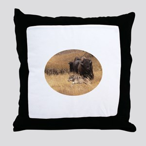 wolf and bison Throw Pillow