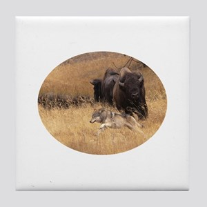 wolf and bison Tile Coaster