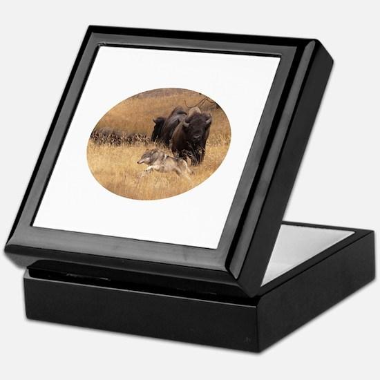 wolf and bison Keepsake Box