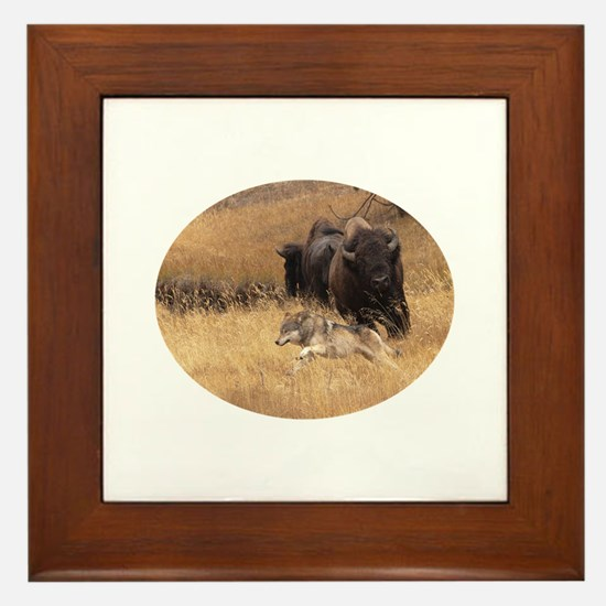 wolf and bison Framed Tile