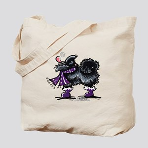 Black Pomeranian Snow Tote Bag