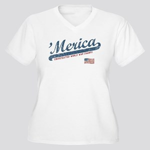 Vintage Team 'Merica Women's Plus Size V-Neck T-Sh