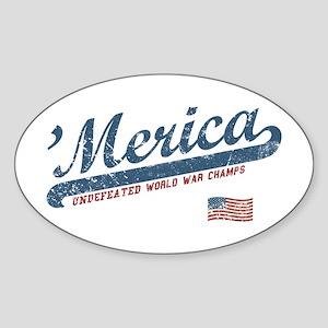Vintage Team 'Merica Sticker (Oval)