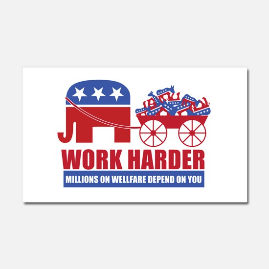 Work Harder Car Magnet 20 x 12
