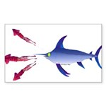 Swordfish chasing three humboldt Squid Sticker (Re