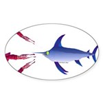 Swordfish chasing three humboldt Squid Sticker (Ov