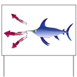 Swordfish chasing three humboldt Squid Yard Sign
