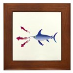 Swordfish chasing three humboldt Squid Framed Tile