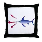 Swordfish chasing three humboldt Squid Throw Pillo