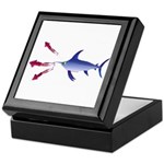 Swordfish chasing three humboldt Squid Keepsake Bo