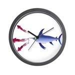 Swordfish chasing three humboldt Squid Wall Clock