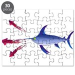 Swordfish chasing three humboldt Squid Puzzle