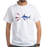 Swordfish chasing three humboldt Squid White T-Shi