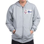 Swordfish chasing three humboldt Squid Zip Hoodie