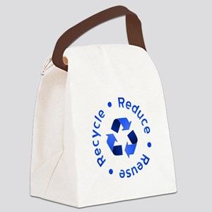 Blue Reduce Reuse Recycle Canvas Lunch Bag