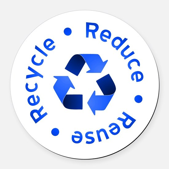 Blue Reduce Reuse Recycle Round Car Magnet