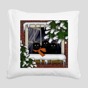 BLACK CATS WINTER WINDOW Square Canvas Pillow
