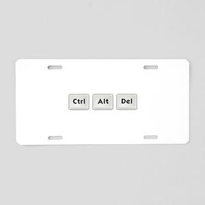 Ctrl Alt Del Key Aluminum License Plate