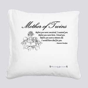 Mom of Twins - Before Square Canvas Pillow