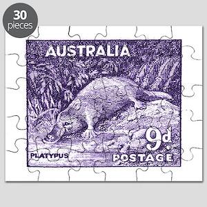 1956 Australia Platypus Stamp Purple Puzzle