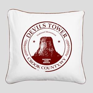 Devils Tower Square Canvas Pillow