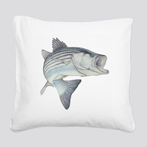Lunker's Stripe Bass Square Canvas Pillow