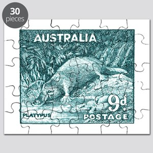 1956 Australia Platypus Stamp Teal Puzzle