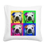 Pop Bulldog Square Canvas Pillow