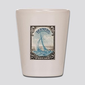 1938 Bermuda Yacht Postage Stamp Shot Glass