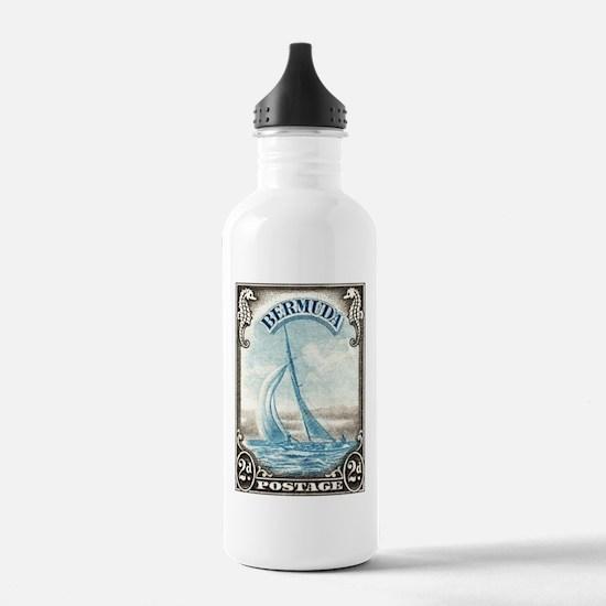 1938 Bermuda Yacht Postage Stamp Water Bottle