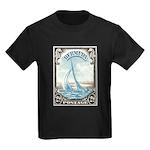 1938 Bermuda Yacht Postage Stamp Kids Dark T-Shirt