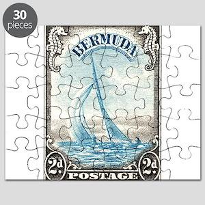 1938 Bermuda Yacht Postage Stamp Puzzle