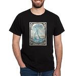 1938 Bermuda Yacht Postage Stamp Dark T-Shirt