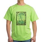 1938 Bermuda Yacht Postage Stamp Green T-Shirt