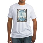 1938 Bermuda Yacht Postage Stamp Fitted T-Shirt