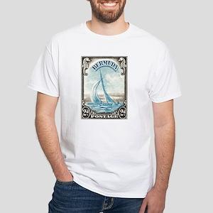 1938 Bermuda Yacht Postage Stamp White T-Shirt