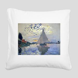 Claude Monet Sailboat Square Canvas Pillow