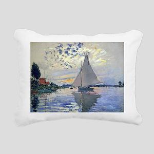 Claude Monet Sailboat Rectangular Canvas Pillow