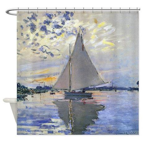 Claude Monet Sailboat Shower Curtain