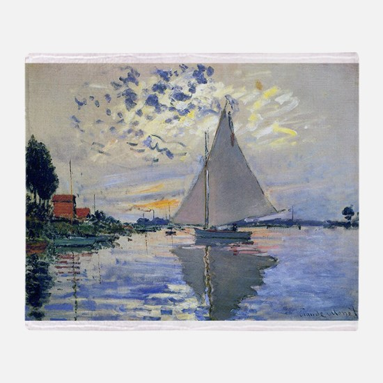 Claude Monet Sailboat Throw Blanket