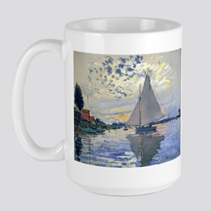 Claude Monet Sailboat Large Mug