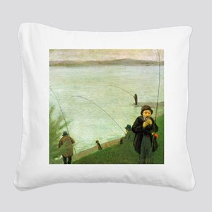 Macke Anglers on the Rhine Square Canvas Pillow