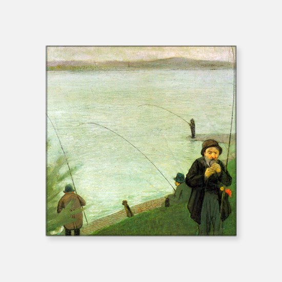 "Macke Anglers on the Rhine Square Sticker 3"" x 3"""