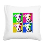 Jack Russell Pup Square Canvas Pillow