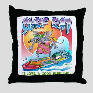 Surf Rat Throw Pillow