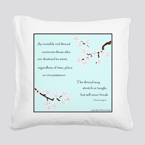 Red Thread Legend (Dogwood) Square Canvas Pillow
