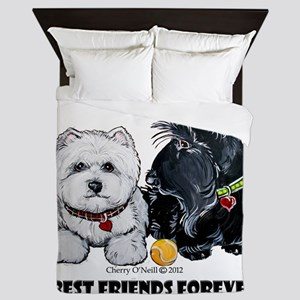 Scottie & Westie Best Friends Queen Duvet