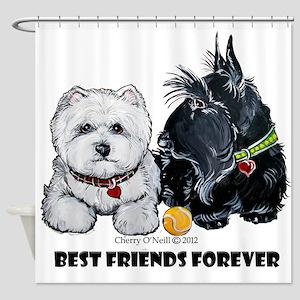 Scottie & Westie Best Friends Shower Curtain