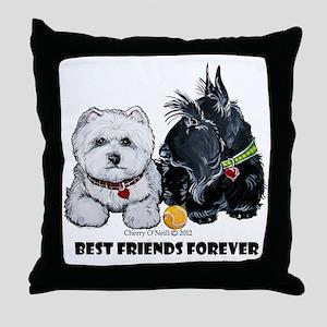 Scottie & Westie Best Friends Throw Pillow